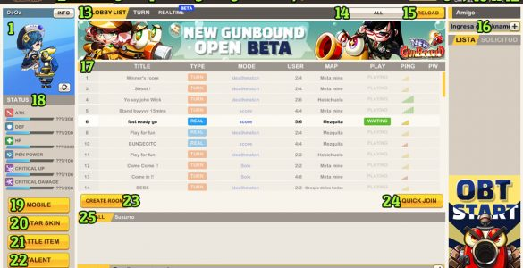 Interfaz de New Gunbound